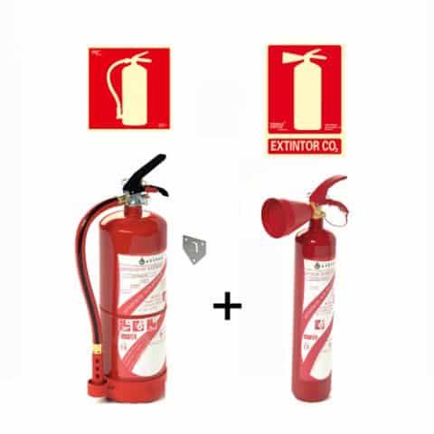 Pacote Extintor de Incêndio em Pó + Extintor de Incêndio Co2 + Sinais de Extintor 1